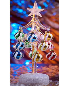 ls arts 10 inch light up glass tree with ornaments