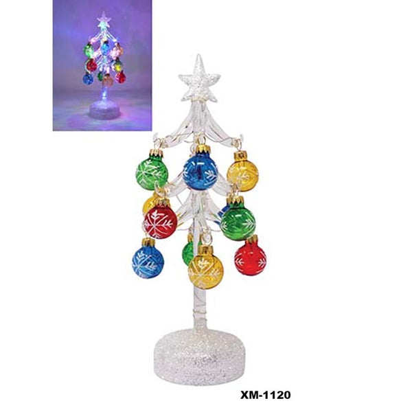 "LS Arts 10"" Inch Light-Up Glass Tree with Ornaments"