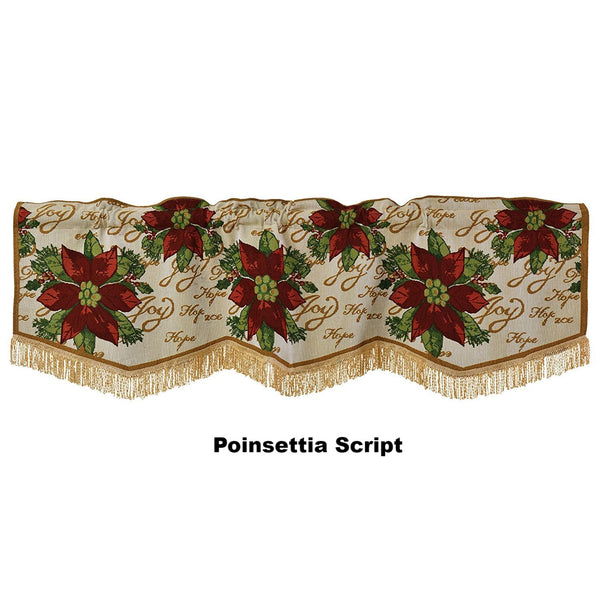 Violet Linen Decorative Christmas Tapestry Window Valance Poinsettias Script-Zoom