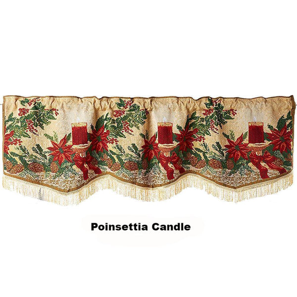 Violet Linen Decorative Christmas Tapestry Window Valance Poinsettia Candle