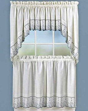 Sage Abby Embroidered Kitchen Valance, Swags, and Tier Curtains hanging on a curtain rod