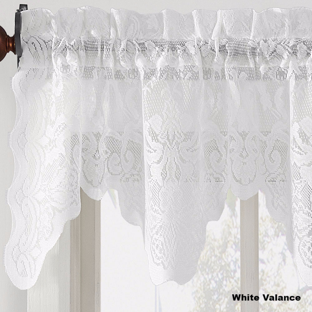 ... Curtain · Alison Jacquard Sheer Lace Scallop Valance White ...