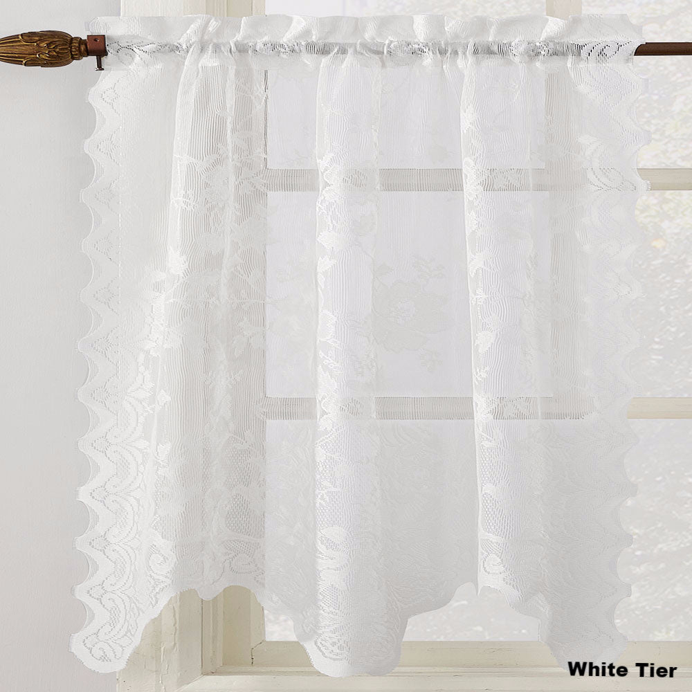 No 918 Alison Jacquard Sheer Lace Kitchen Curtain