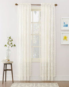 No. 918 Alison Jacquard Lace Curtains hanging on a decorative rod