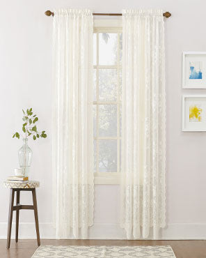 918 Alison Jacquard Lace Curtains Hanging On A Decorative Rod