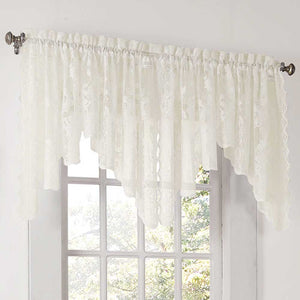 Closeup of Ivory Alison Lace Curtain Valance