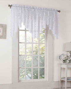 Alison Lace Curtain Valance hanging on a decorative rod