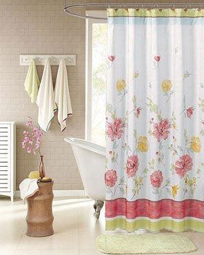 White Alyssa Fabric Shower Curtain hanging on a bathroom curtain rod