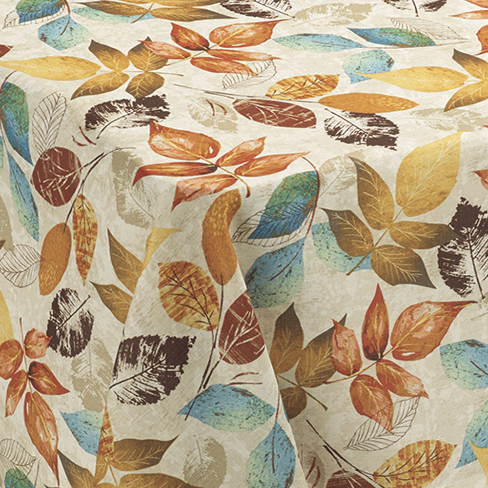up close shot of Aspen Printed Fabric Tablecloth