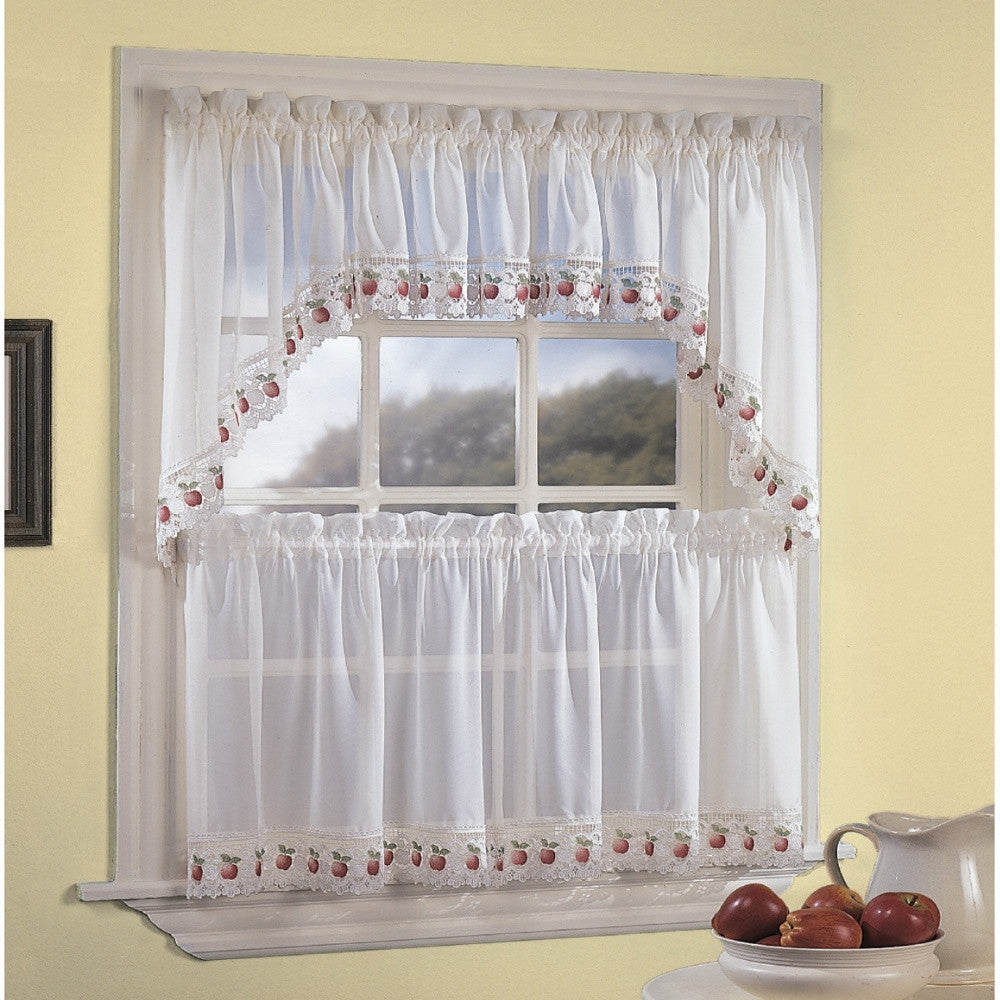 Ecru Apple Orchard Kitchen Valance Swags And Tier Curtains Hanging On A Curtain Rod