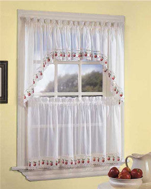 Ecru Apple Orchard Kitchen Valance, Swags, and Tier Curtains hanging on a curtain rod