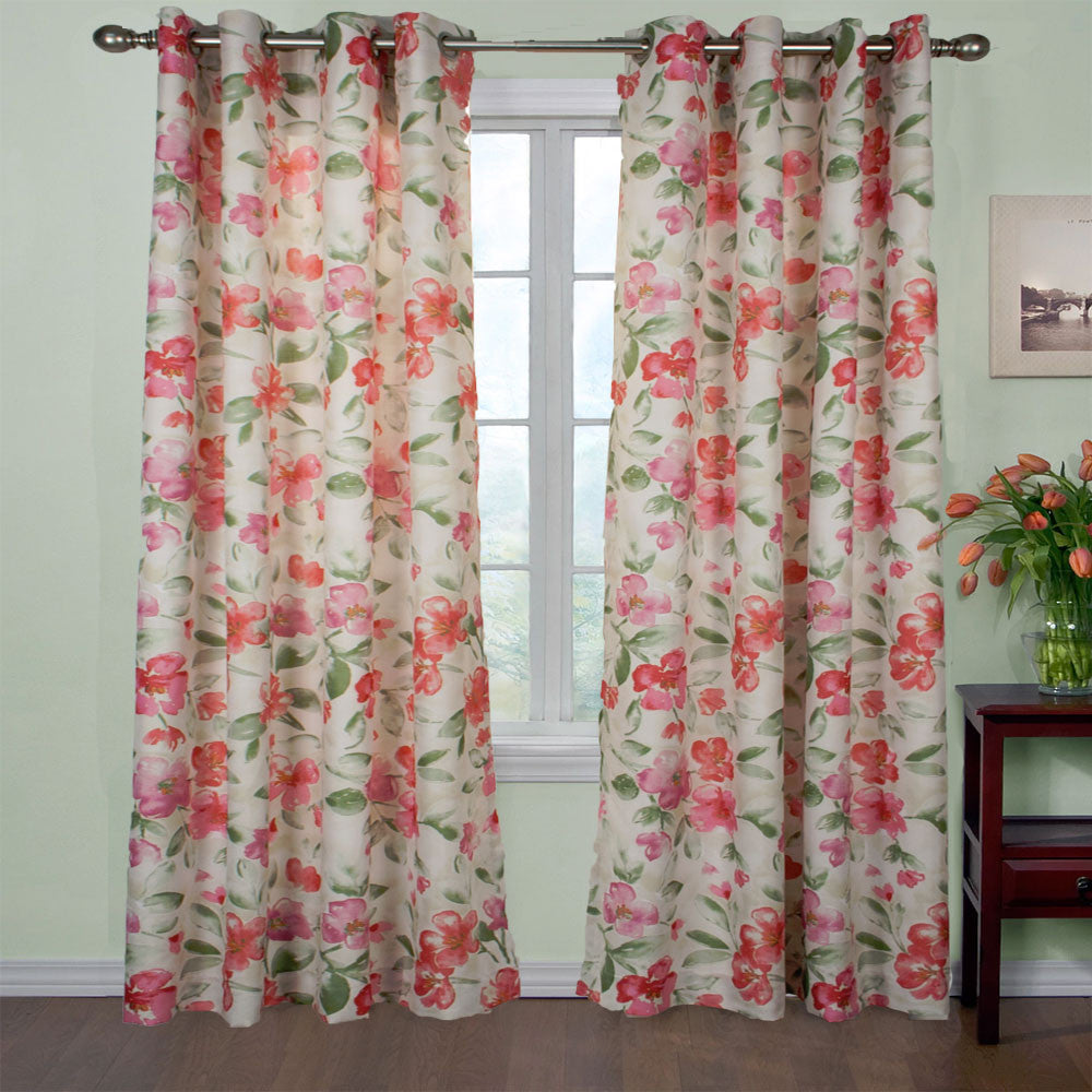 Pink Arden Lined Grommet Top Panel hanging on a decorative curtain rod