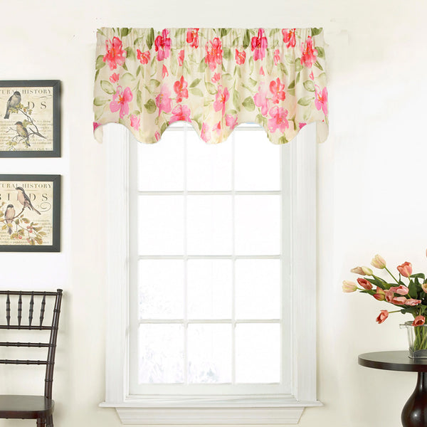 Pink Arden Lined Valance hanging on a decorative curtain rod