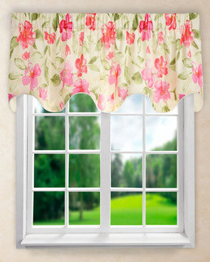 Arden Lined Scalloped Valance hanging on a curtain rod