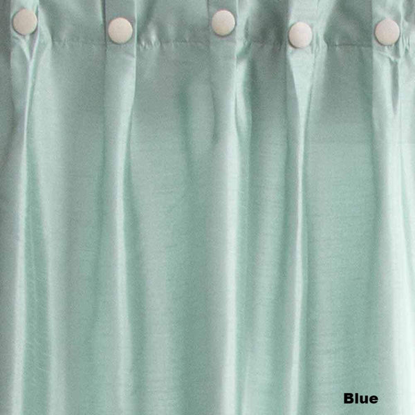 Closeup of Blue Artisan Double Width Box Pleated Back Tab Curtain Panel Pair fabric