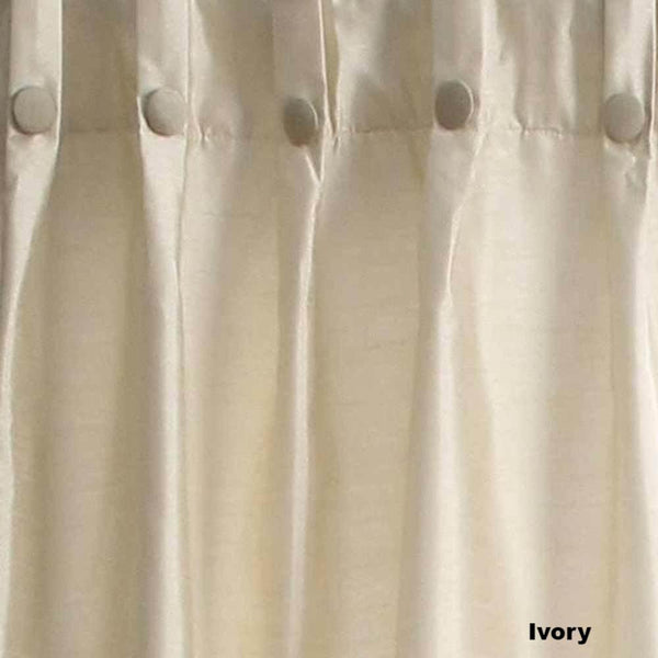 Closeup of Ivory Artisan Double Width Box Pleated Back Tab Curtain Panel Pair fabric