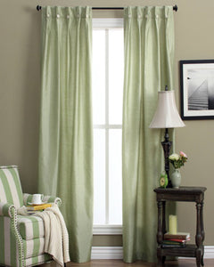 Sage Artisan Double Width Box Pleated Back Tab Curtain Panel Pair hanging on a decorative rod