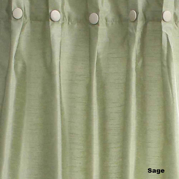 Closeup of Sage Artisan Double Width Box Pleated Back Tab Curtain Panel Pair fabric
