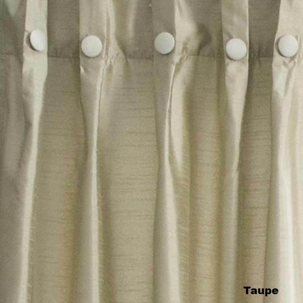 Closeup Of Taupe Artisan Double Width Box Pleated Back Tab Curtain Panel Pair Fabric