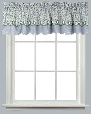 Blue Ashley Tailored Valance hang on  a Lock -Seam Curtain Rod