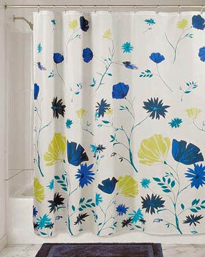 Multi Aster Floral Fabric Shower Curtain hanging on a bathroom curtain rod