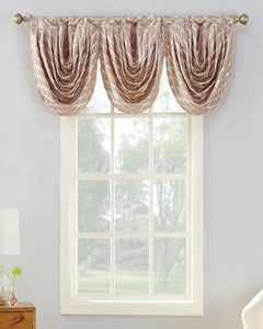 Rose Sun Zero Atticus Jacquard Lined Rod Pocket Valance hanging on a decorative rod