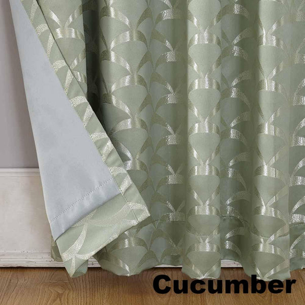 Closeup of Cucumber Sun Zero Atticus Jacquard Lined Rod Pocket Panel and Valance Lining