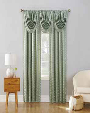 Sun Zero Atticus Jacquard Lined Rod Pocket Panel and Valance hanging on a decorative rod
