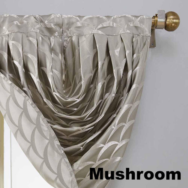 Closeup of Mushroom Sun Zero Atticus Jacquard Lined Rod Pocket Panel and Valance pattern