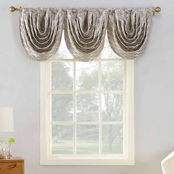 Mushroom Sun Zero Atticus Jacquard Lined Rod Pocket Valance hanging on a decorative rod