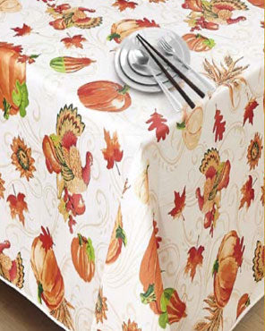 European Autumn and Turkey Fabric Tablecloth