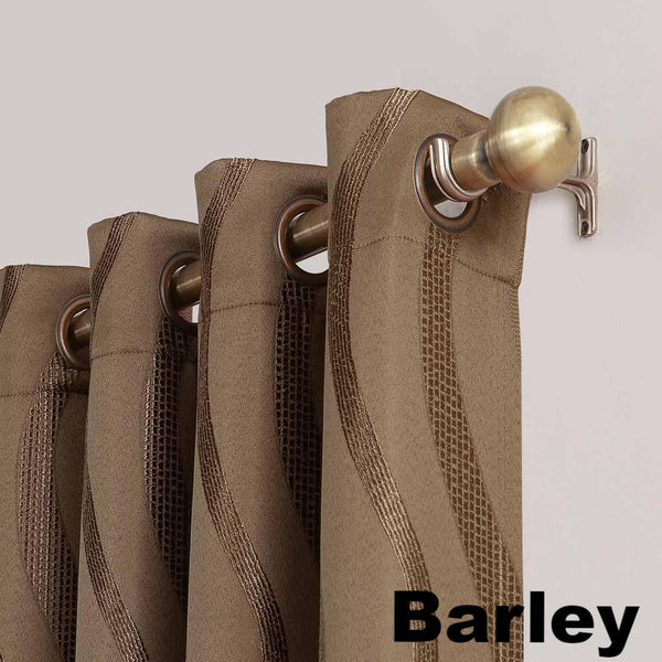 Closeup of barley Sun Zero Ava Room Darkening Grommet Top Panel grommets