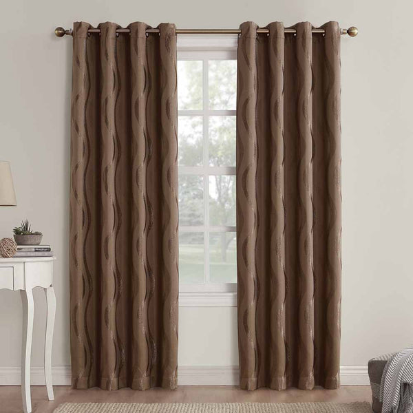 Barley Sun Zero Ava Room Darkening Grommet Top Panels hanging on a decorative rod
