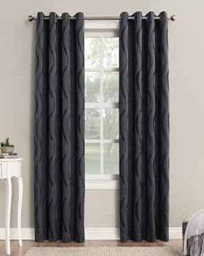 Dusk Sun Zero Ava Room Darkening Grommet Top Panels hanging on a decorative rod