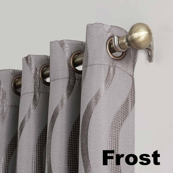 Closeup of frost Sun Zero Ava Room Darkening Grommet Top Panel grommets