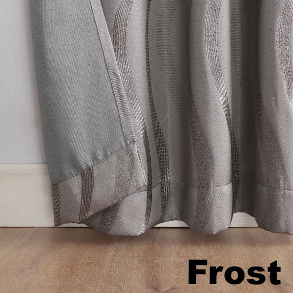 Closeup of frost Sun Zero Ava Room Darkening Grommet Top Panel hem
