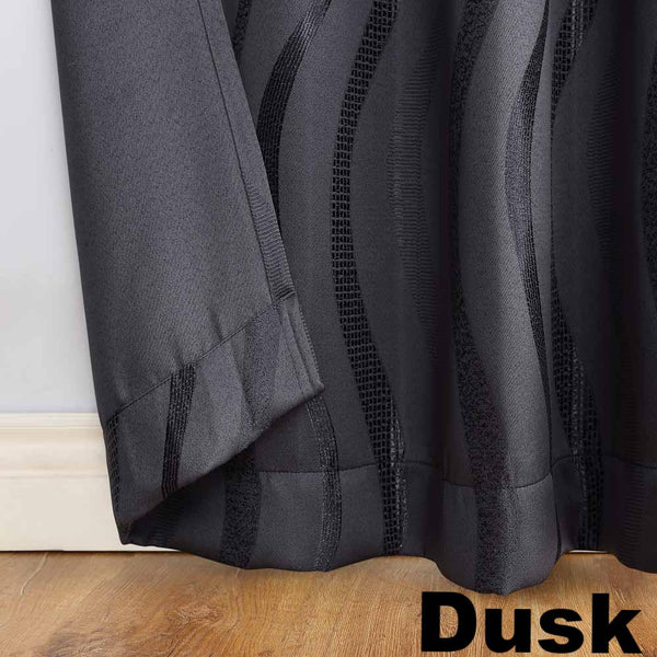 Closeup of dusk Sun Zero Ava Room Darkening Grommet Top Panel hem