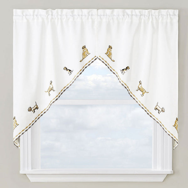 Dogs Embroidered Tier, Valance and Swag Curtains