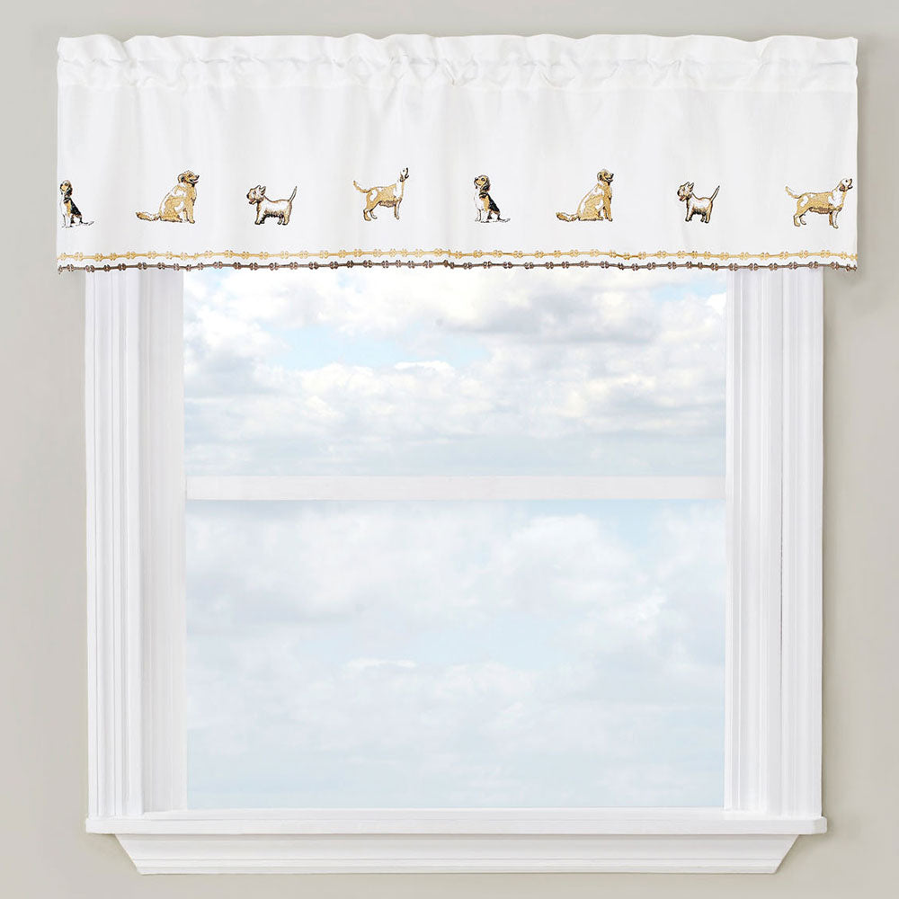 Dogs Embroidered Tier Valance And Swag Curtains Stylemaster