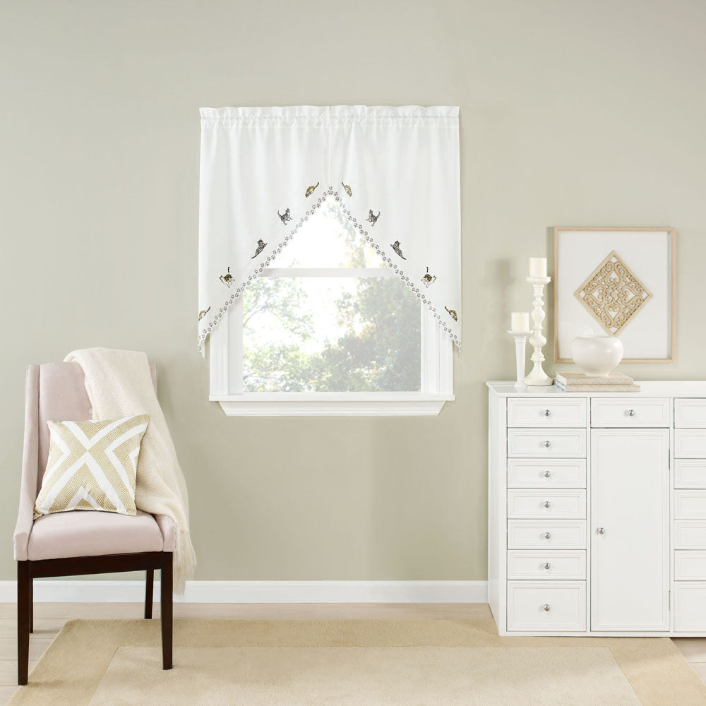 Cats Embroidered Kitchen Valance Swags And Tier Curtains