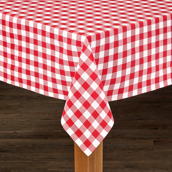 Red Buffalo Check Fabric Tablecloth on a table