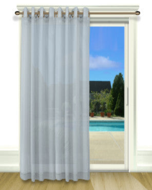 Blue Bal Harbour Grommet Top Patio Panel on a decorative rod