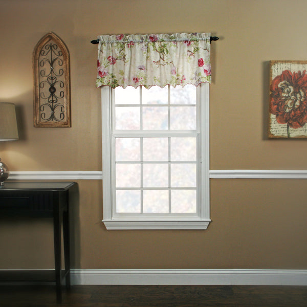 Lilac Balmoral Tailored Valance hanging on a curtain rod
