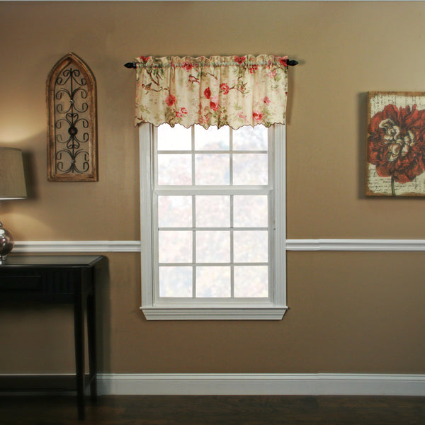 Red Balmoral Tailored Valance hanging on a curtain rod