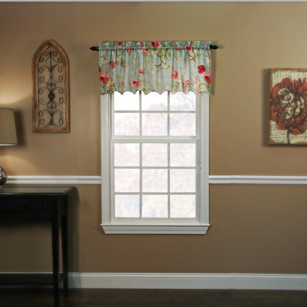 Sage Balmoral Tailored Valance hanging on a curtain rod