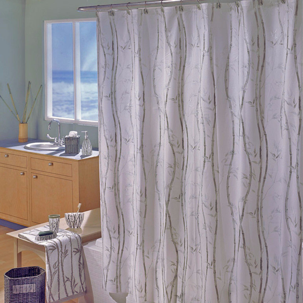 Bamboo Peva Vinyl Shower Curtain hanging on a shower rod