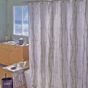 Bamboo Peva Vinyl Shower Curtain Hanging On A Rod