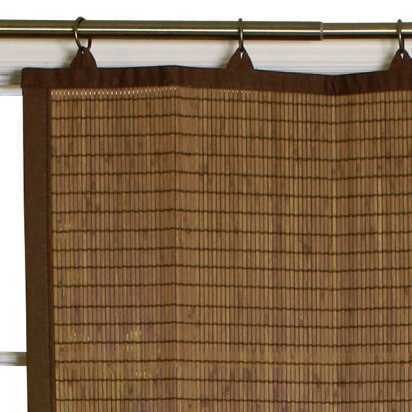 Closeup of Bamboo Ring Top Kitchen Valance and Tier Curtains pattern