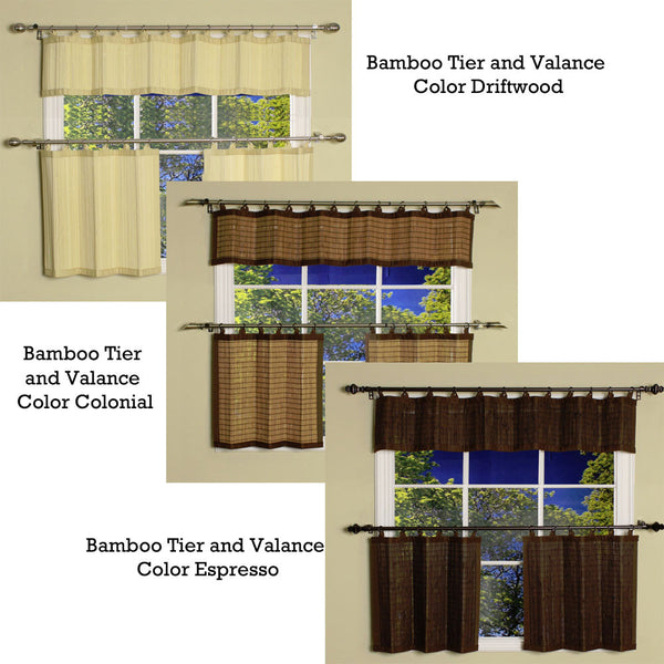 Bamboo Ring Top Kitchen Valance and Tier Curtain Groups