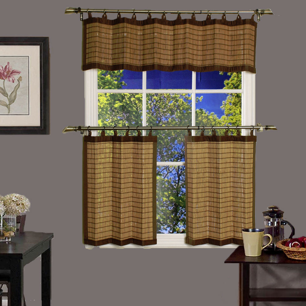 Espresso Bamboo Shades With Curtains